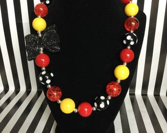 Red, Black, and Yellow Bubblegum Bead Necklace with Bow