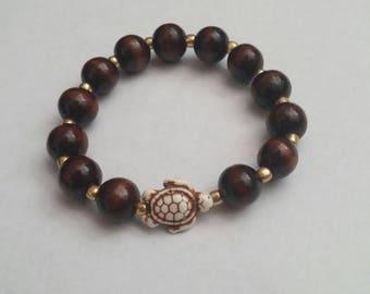 Wood & Turtle Elastic Bracelet