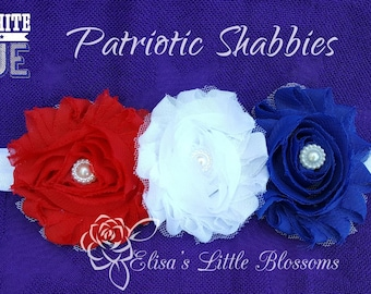 Red, White, And Blue Patriotic Shabbies Headband, Baby girl headbands, Memorial Day, 4th of July, Handmade, Made to order, Customizable