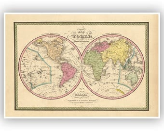 World Map 1849, Vintage Style Fine Art Print, 1800s, Old Maps, Eastern And Western Hemisphere, Planet Earth, World Map Wall Decor