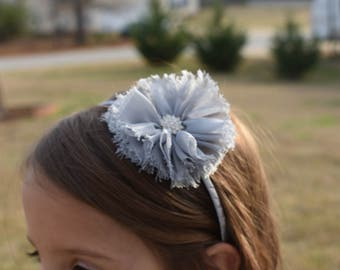 gray flower head band with rhinestone