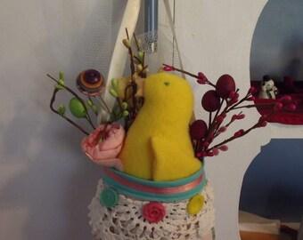 Easter Chick Bag Door Hanger, Spring Door Hanger, Easter Chick, Quilted Bag Door Hanger, Easter Bag, Spring Bag, Door Hanger, Handmade
