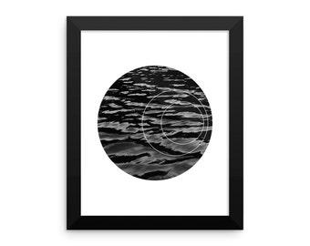 Framed Black and White Geometric Circle Water Print