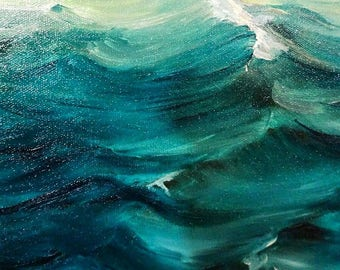 Sea Wave Landscape ,By Eunistt, Champagne Small oil painting, Living Room Decor, Palette Knife Painting, Modern Oil Painting