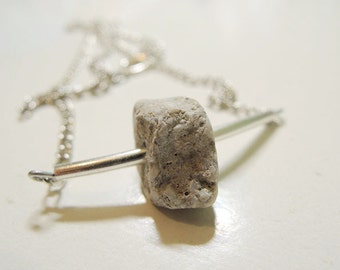 Handmade chain necklace with stone