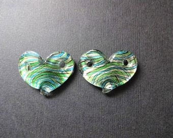 1 BLUE & GREEN HEART lampwork connector pendant bead - measures 1-1/2 inches across - one connector pendant for necklace, bracelet or crafts