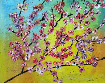 Acrylic painting cherry blossom, 40 x 40 cm, unique, manual production, on stretcher