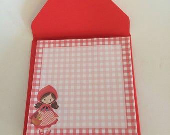 Handmade Notepad, Little Red Riding hood Notepad, Memo Pad, Little Red Riding hood Memo Pad, Handmade Memo Pad