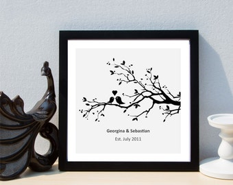Personalised Love Birds in a Tree Framed Print