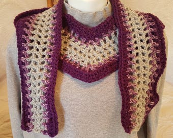 Medium Weight Cotton Scarf with Pointed Front - Purple and Gray