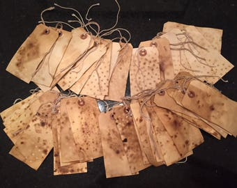 Tea coffee stained hang tags primitive (10)