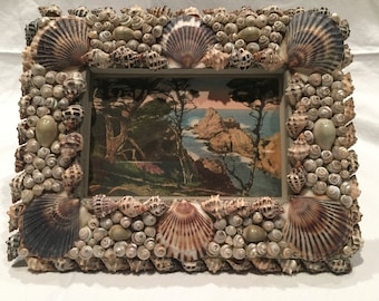 Handmade Shell Frame with Antique, Hand-Colored Postcard of Carmel, California