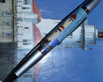Pen with lighthouse inlay