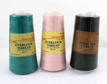 Overlock Thread, 3000 Yards, 100% Spun Polyester, Black, Pink, Dark Jade, Priced Sew Right Collection, Sewing Thread, Serger Cone Thread