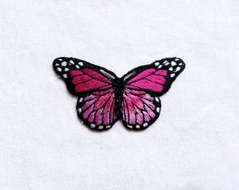 1X fushia pink butterfly romantic fashion Iron On Embroidered Patch Applique