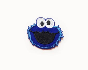 1x COOKIE MONSTER patch Sesame Street Iron On Embroidered Applique blue fur custom diy cute