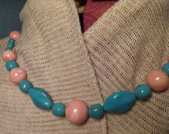 Turquoise Style Pink and Blue Stone Necklace Hill Country Chic Prairie Western Style Boho