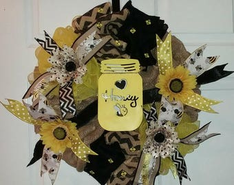 "Ready to Ship! 22"" Honey Bee Black and Yellow Burlap and Deco Mesh Wreath with Sunflowers and Polka dot Flowers! Summer or All Year!"