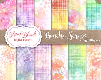 Digital Background Floral Blends Decorative Papers