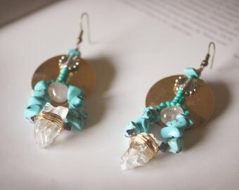 Raw and polished rock crystal - turquoise