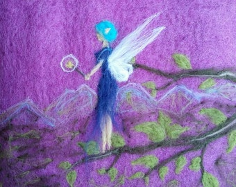 Needle Felted Wool Wall Art - Fairy in the Dusk