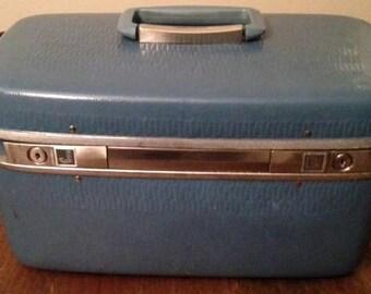 Vintage Blue Samsonite Horizon Traveler/Train/Makeup Case