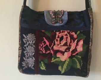 Vintage tapestry Messenger Cross body bag, vintage tapestry. Boho