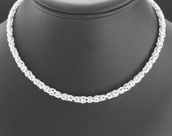 Sterling silver chainmaille classic byzantine necklace handcrafted and hallmarked