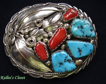 """Vintage NAVAJO Turquoise & Coral Multi-Stone Silver Belt Buckle -""""Unsigned"""""""