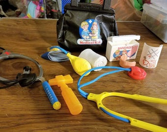 Vintage Fisher Price Medical Bag With Accessories Stethoscope, Shot Device,