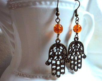 Amber Dreams and Brass Luck - Hamsa Hands