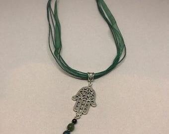 All green fatima hand necklace