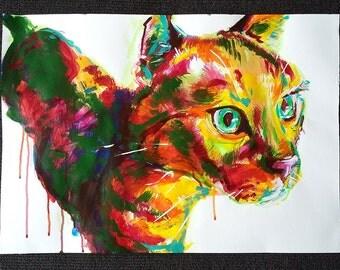 Focus - original acrylic artwork cat portrait