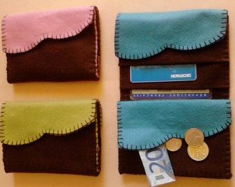 Complete set of creative sewing in wool felt. Wallet 14 x 10 cm, 3 colors available to make yourself