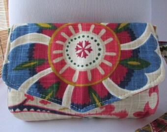 Small Red/Green/Blue Floral Clutch, Wristlet, Makeup Bag, Purse