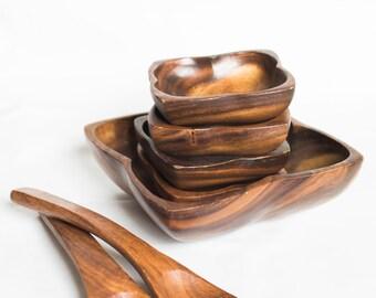 Vintage Square Wood Salad Bowl Set (7 pieces), 1 large salad bowl, 4 serving bowls, 2 serving utensils