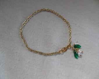 Ankle Chain w/Flowers & Leaf