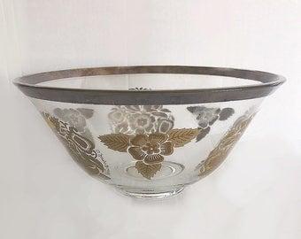 Vintage Silver Rimmed Serving Bowl, Vintage Decor, Geroges Briard Bowl, Unique Vintage Bowl