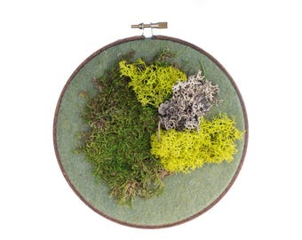 Moss Art, Real Moss Embroidery Hoop Wall Art