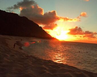 Sunset in Mokuleia Beach Oahu Hawaii