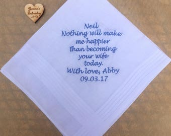 Personalised Mens handkerchief bride to Groom wedding day gift, or you may contact me tor a quote for alternate wording. Embroidered hankie
