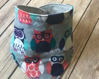 Baby Girl owl Bandana Bib