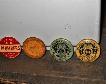 Lot of 4 Different Madison Wisconsin Vintage Chauffeurs Teamsters - Plumbers Union Pins Buttons 1931 1938 Etc - Free Shipping