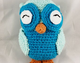 6''x4'' Cute Owl Blue Amigurumi Toy