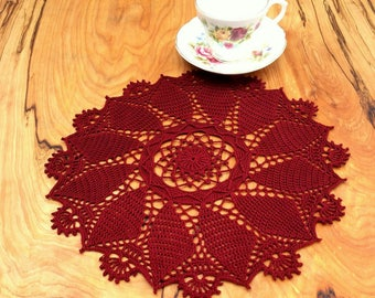 Windsor Round Doily ~ Burgundy Decorations ~ Crochet Doily ~ Gifts Under 50 ~ Table Decorations ~ Round Doilies ~ Hand Crocheted Items