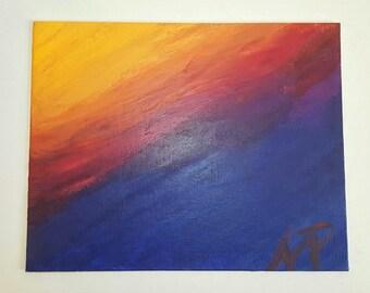 Sunset - An AP Original 8 x 11 Acrylic Canvas Painting