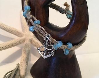 Hemp Bracelet, woven bracelet, glass beads, anchor charm