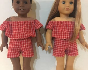 "18"" American Girl Doll McKenna & Addy Red, White Doll Romper"