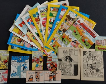Vintage Comic Book Cartoons Retro Book Pages and Scraps Grab Bag for Scrapbooking, Paper Crafts, Junk Journalling, Decoupage, Collage