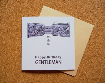 Happy Birthday Mechanical Bowtie Illustration - Square Greeting Card - 141mm x 141mm